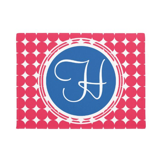 Blue & Red Polka Dot Monogram Doormat