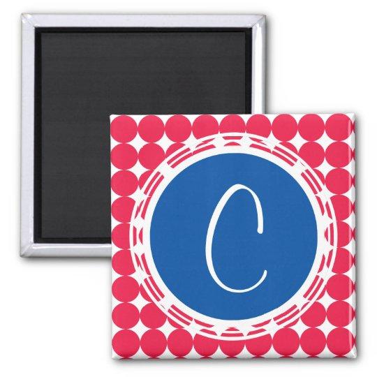 Blue & Red Polka Dot Monogram Magnet