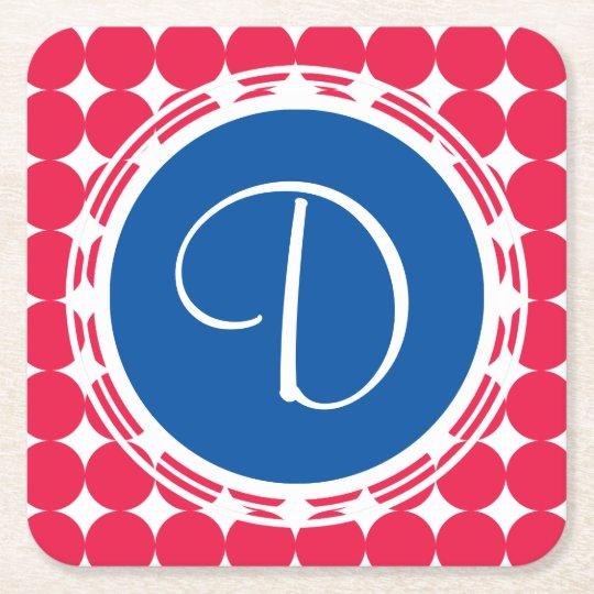 Blue & Red Polka Dot Monogram Square Paper Coaster
