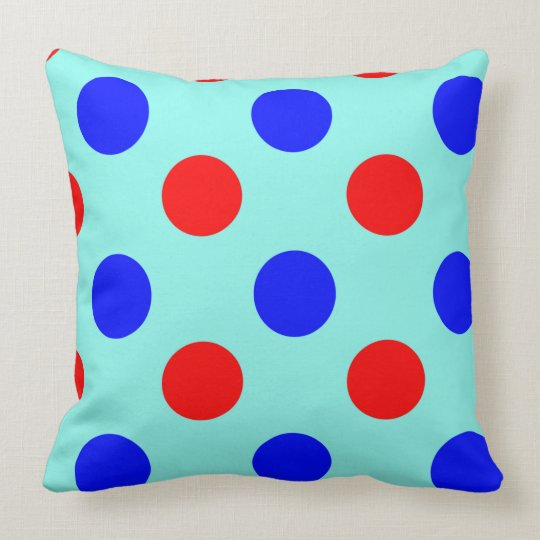 Blue & Red Polka dot Vector illustration. Cushion