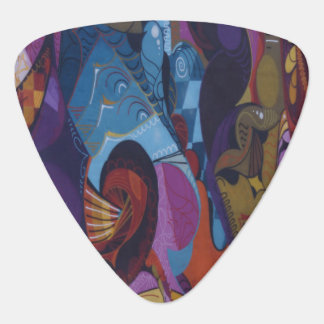 Blue red purple abstract graffiti guitar pick