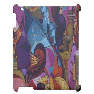 Blue red purple abstract graffiti iPad cases