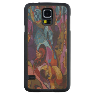 Blue red purple abstract graffiti maple galaxy s5 slim case