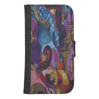 Blue red purple abstract graffiti samsung s4 wallet case