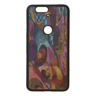 Blue red purple abstract graffiti wood nexus 6P case