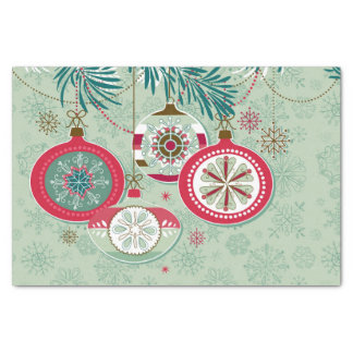 Blue & Red Retro Christmas Ornaments Tissue Paper