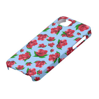 Blue & Red Rose Pattern iPhone 5 Cases
