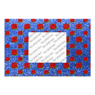 blue red roses glitter photo print