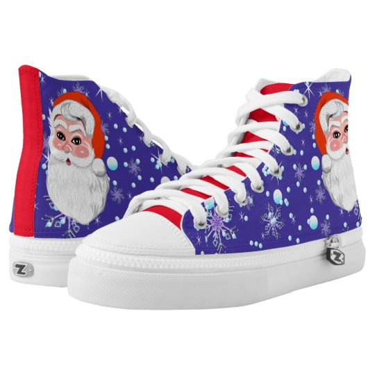 "Blue red ""Santa Claus & Snowfall"" Merry Christmas High Tops"