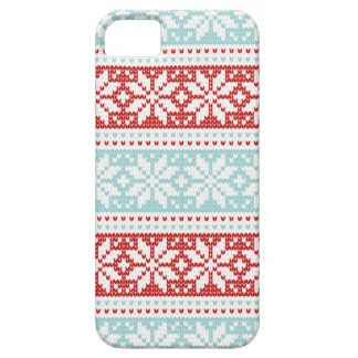Blue Red Snowflakes Christmas Knit Pattern Barely There iPhone 5 Case