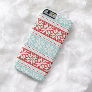 Blue Red Snowflakes Christmas Knit Pattern Barely There iPhone 6 Case