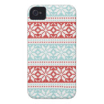 Blue Red Snowflakes Christmas Knit Pattern iPhone 4 Case-Mate Cases