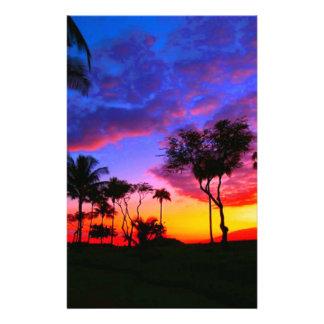 Blue Red Sunset Exotic Hawaiian Beach Palm Trees Customized Stationery