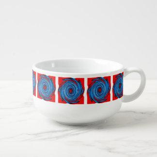 Blue Red Swirl Abstract Pattern Soup Mug