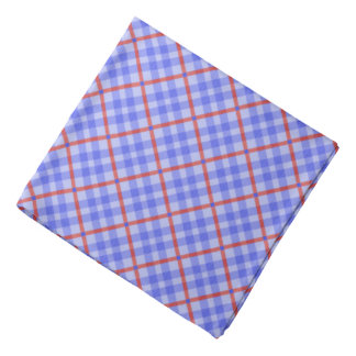 Blue, red tartan pattern, classic chequered tiles bandana