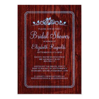 Blue Red Vintage Barn Wood Bridal Shower Invites Invitation