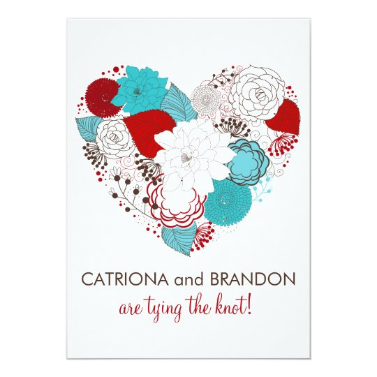 Blue Red Whimsical Floral Heart Wedding Invitation