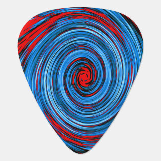 Blue Red White Black Swirl Abstract Pattern Plectrum