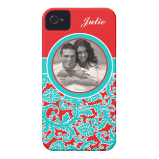 Blue, Red, White Damask iPhone 4 Case with Photo