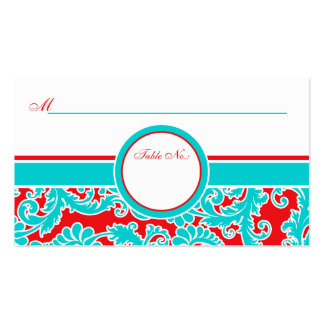 Blue Red White Damask Place Cards Business Cards