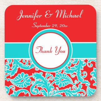 Blue, Red, White Damask Wedding Coaster Set (6)