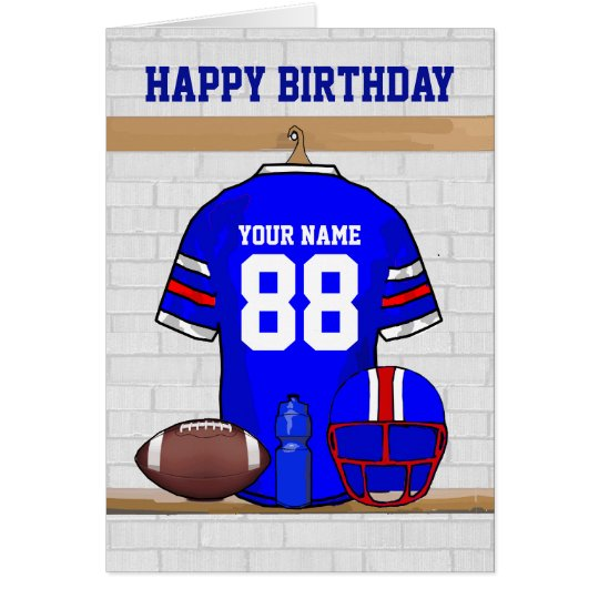 Blue Red White Football Jersey Happy Birthday Card