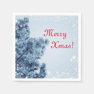 Blue Red Xmas Napkins, Winter Wonderland Christmas Paper Napkins