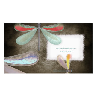 Blue red yellow butterfly night delicate silk Busi Business Card