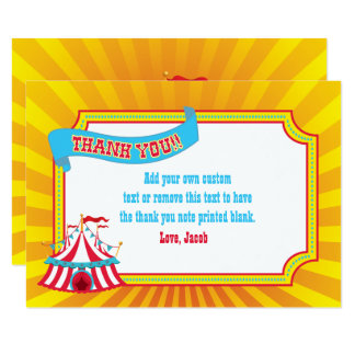 Blue, Red, Yellow Circus Tent | Thank You Cards 9 Cm X 13 Cm Invitation Card