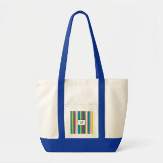 Blue, Red Yellow Striped Monogrammed Duffel Bag