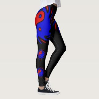 Blue & Red Yin Yang Symbols On Black Leggings