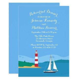 Blue Rehearsal Dinner Nautical Lighthouse Sailboat Card