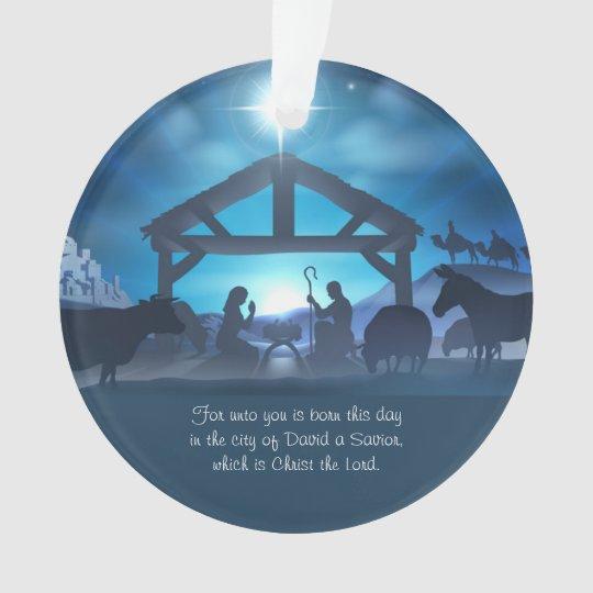 Blue Religious Nativity Christmas Custom Ornament