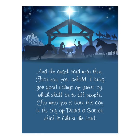 Blue Religious Nativity Christmas Greeting Card