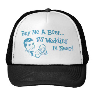 Blue Retro Buy Me A Beer My Wedding is Near Mesh Hat