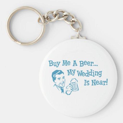 Blue Retro Buy Me A Beer My Wedding is Near Keychain