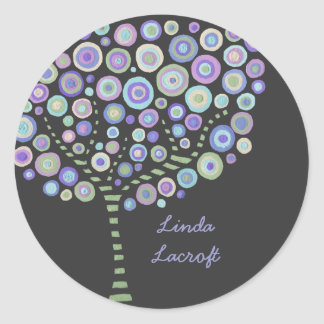 Blue Retro Circle Tree Thank You Label Sticker