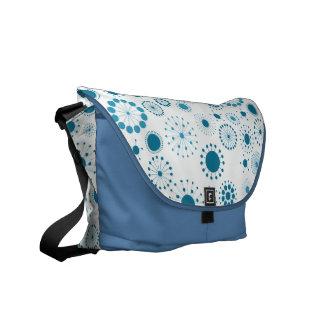 Blue Retro Circles on White Commuter Bag