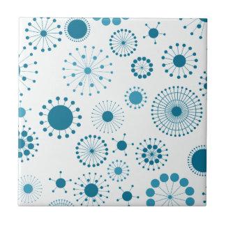 Blue Retro Circles on White Tile