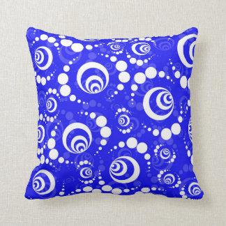 Blue Retro Crop Circle Throw Pillow