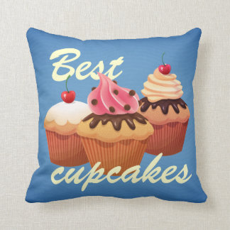Blue retro cupcakes pillow