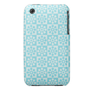 Blue Retro Flower Pattern Case-Mate iPhone 3 Cases