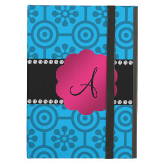 Blue retro flowers and circles iPad air cases