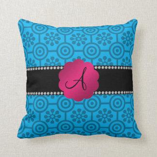 Blue retro flowers and circles throw cushion