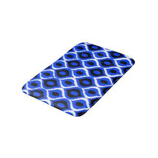 Blue Retro Geometric Ikat Tribal Print Pattern Bath Mat
