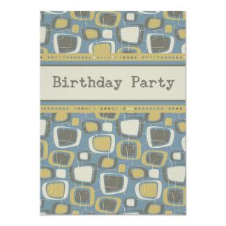 Blue Retro Guys Birthday Party Invitation Card