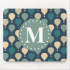 Blue Retro Hot Air Balloon Pattern Monogram Mouse Mat