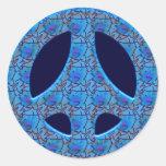 BLUE RETRO PEACE SIGN ROUND STICKERS