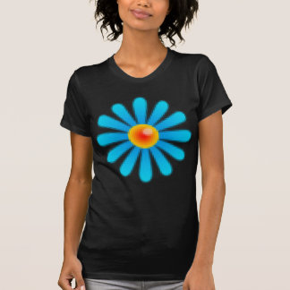 Blue Retro Pixel Flower T-Shirt