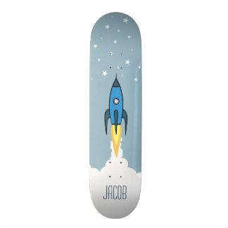Blue Retro Rocket Ship Stars Personalized Monogram 21.6 Cm Old School Skateboard Deck
